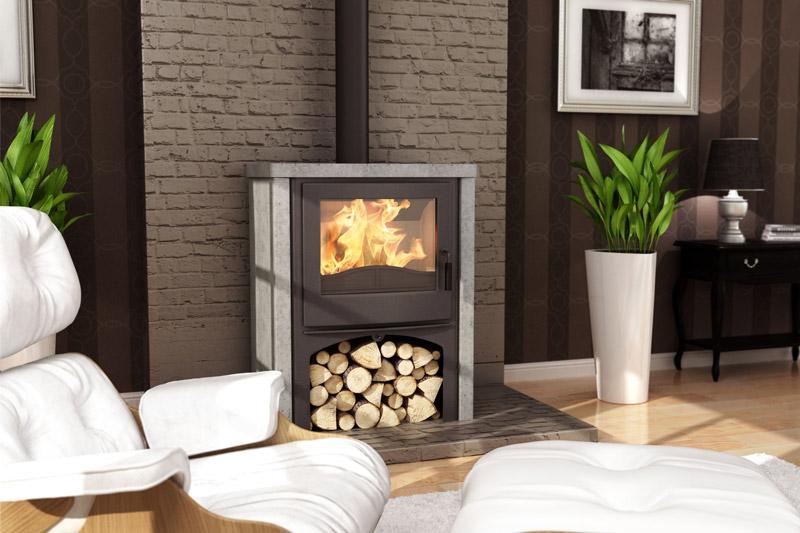Nordic Fire Houtkachel Vrijstaand Cottage met voet en speksteen